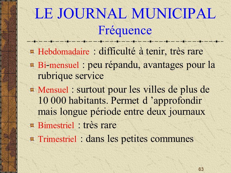 LE JOURNAL MUNICIPAL Fréquence