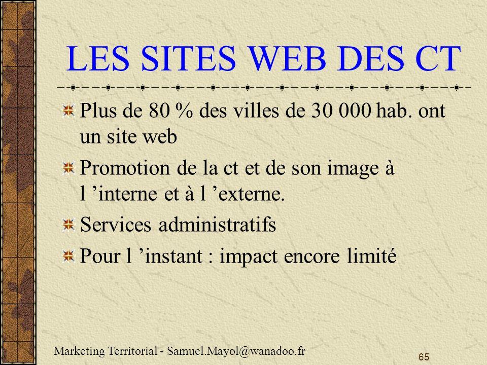 LES SITES WEB DES CT Plus de 80 % des villes de 30 000 hab. ont un site web. Promotion de la ct et de son image à l 'interne et à l 'externe.