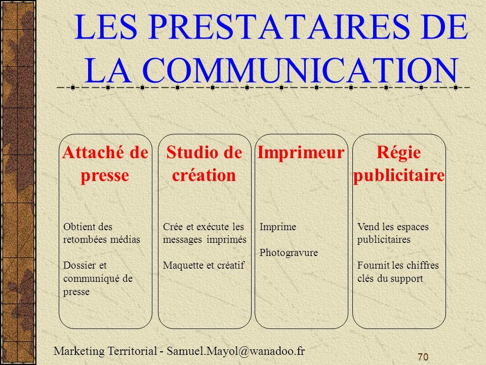 LES PRESTATAIRES DE LA COMMUNICATION
