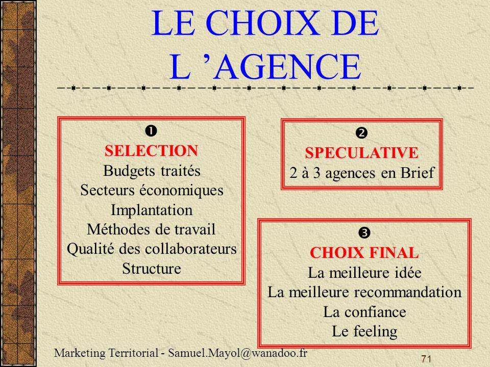 LE CHOIX DE L 'AGENCE   SELECTION SPECULATIVE Budgets traités