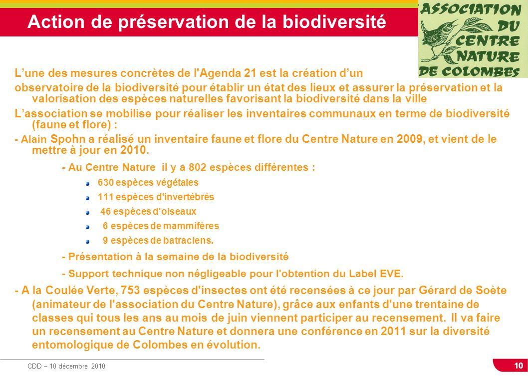 Action de préservation de la biodiversité