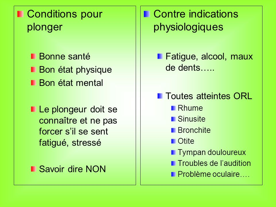 Conditions pour plonger Contre indications physiologiques