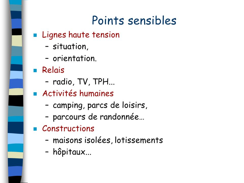 Points sensibles Lignes haute tension situation, orientation. Relais