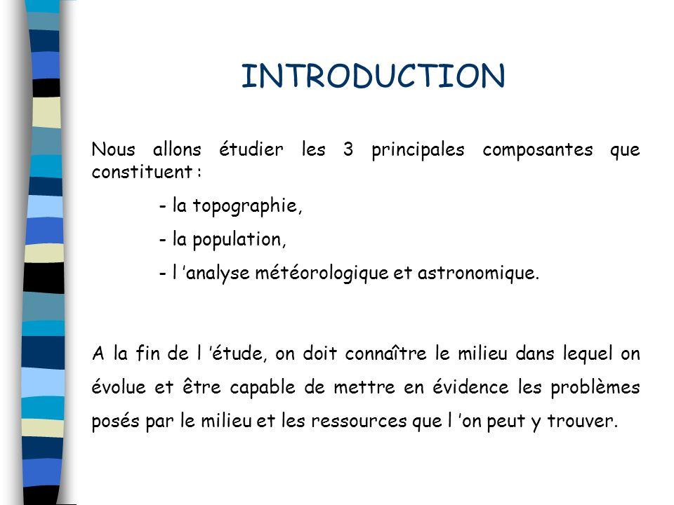 INTRODUCTION Nous allons étudier les 3 principales composantes que constituent : - la topographie,