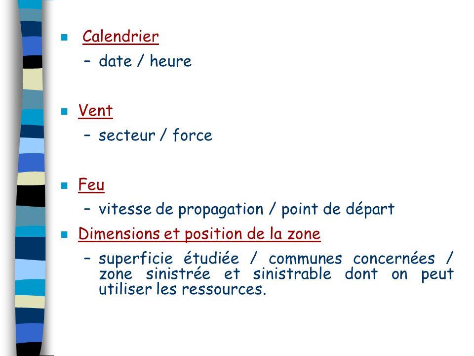 Calendrier date / heure. Vent. secteur / force. Feu. vitesse de propagation / point de départ. Dimensions et position de la zone.