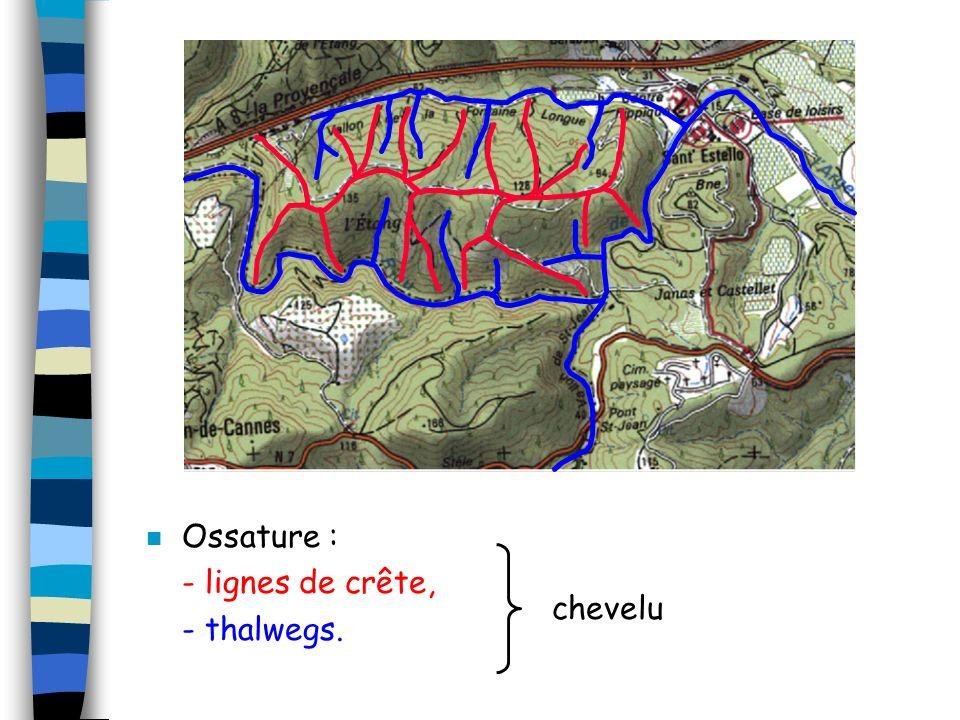 Ossature : - lignes de crête, - thalwegs. chevelu