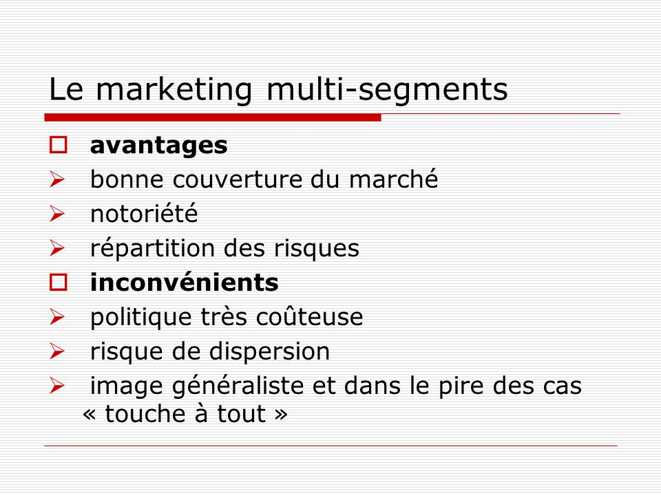 Le marketing multi-segments