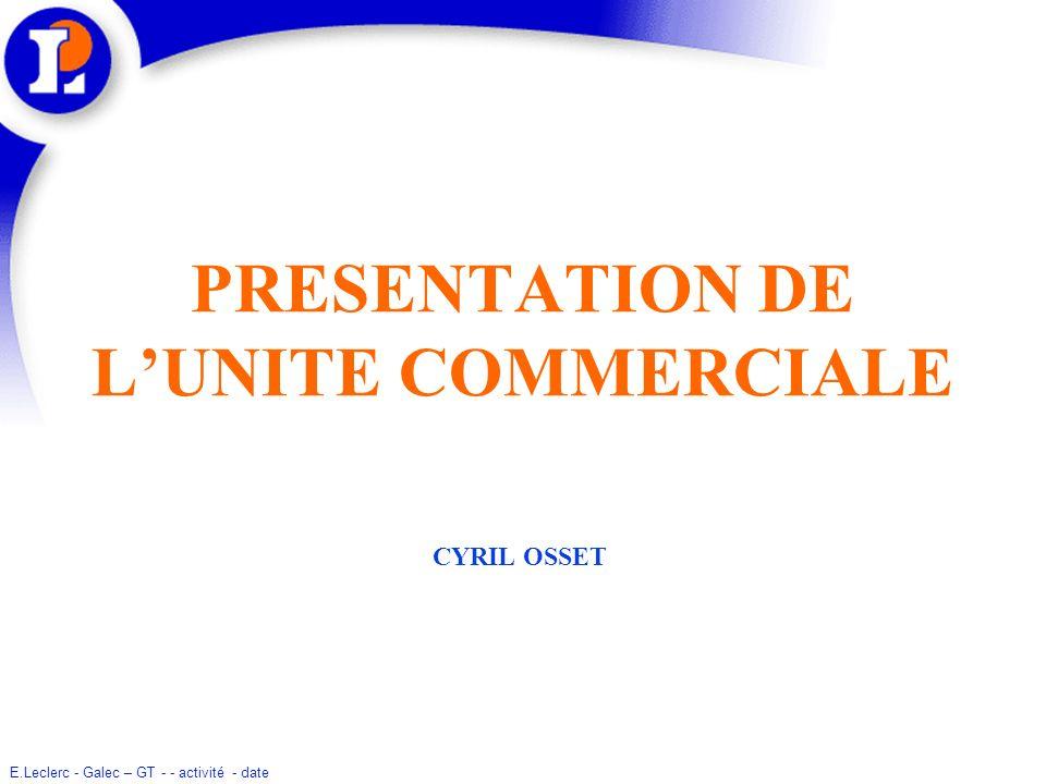 PRESENTATION DE L'UNITE COMMERCIALE