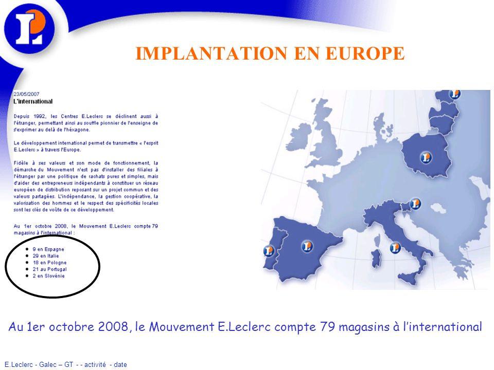IMPLANTATION EN EUROPE