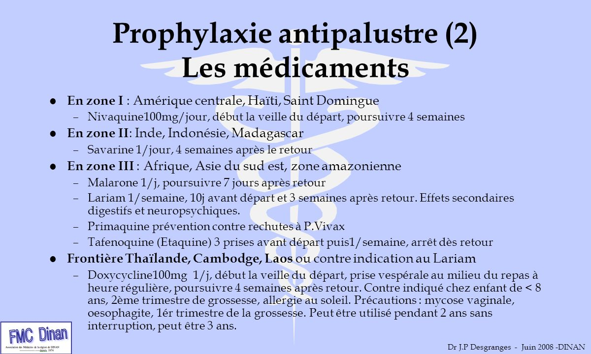 Prophylaxie antipalustre (2) Les médicaments