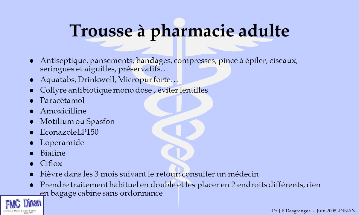 Trousse à pharmacie adulte