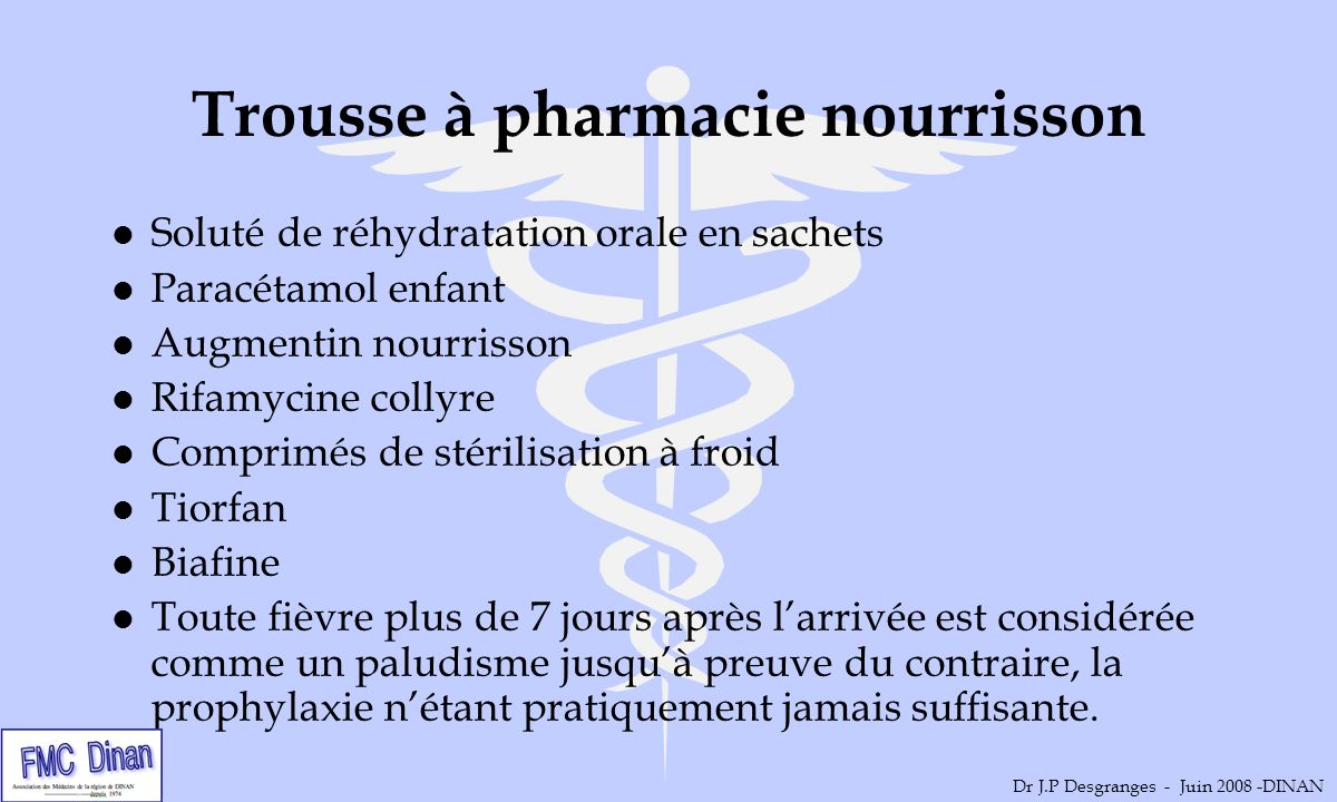 Trousse à pharmacie nourrisson