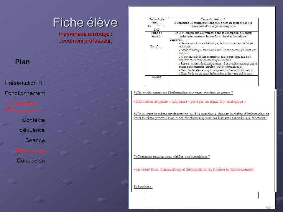 Fiche élève (+synthèse en rouge : document professeur)
