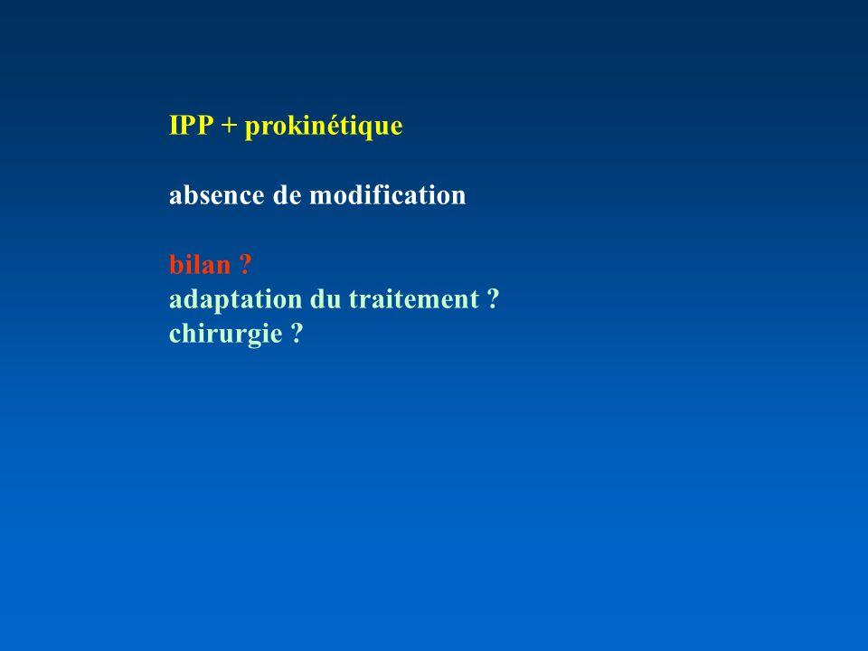 IPP + prokinétique absence de modification bilan adaptation du traitement chirurgie