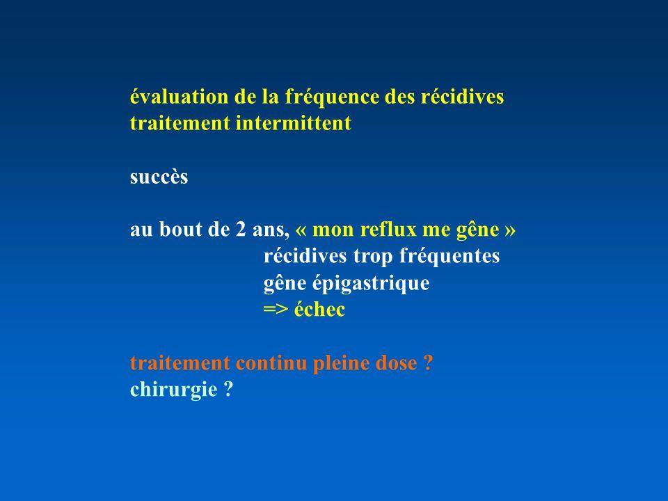 évaluation de la fréquence des récidives