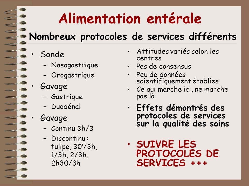 Alimentation entérale Nombreux protocoles de services différents