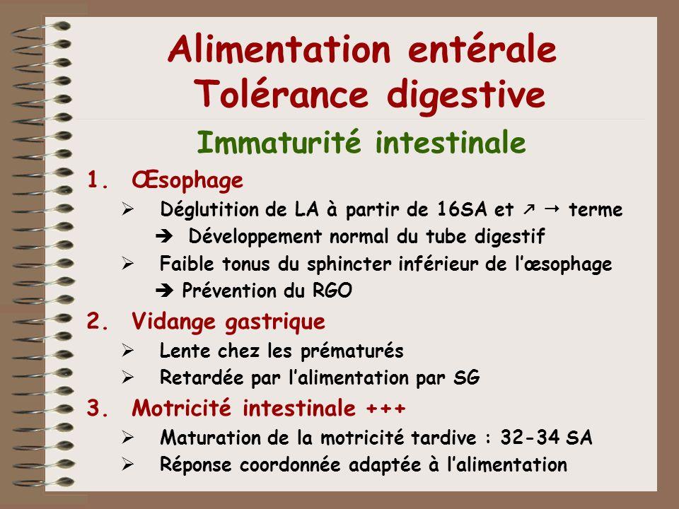 Alimentation entérale Tolérance digestive