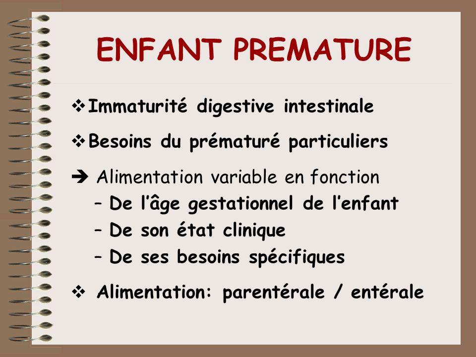 ENFANT PREMATURE Immaturité digestive intestinale