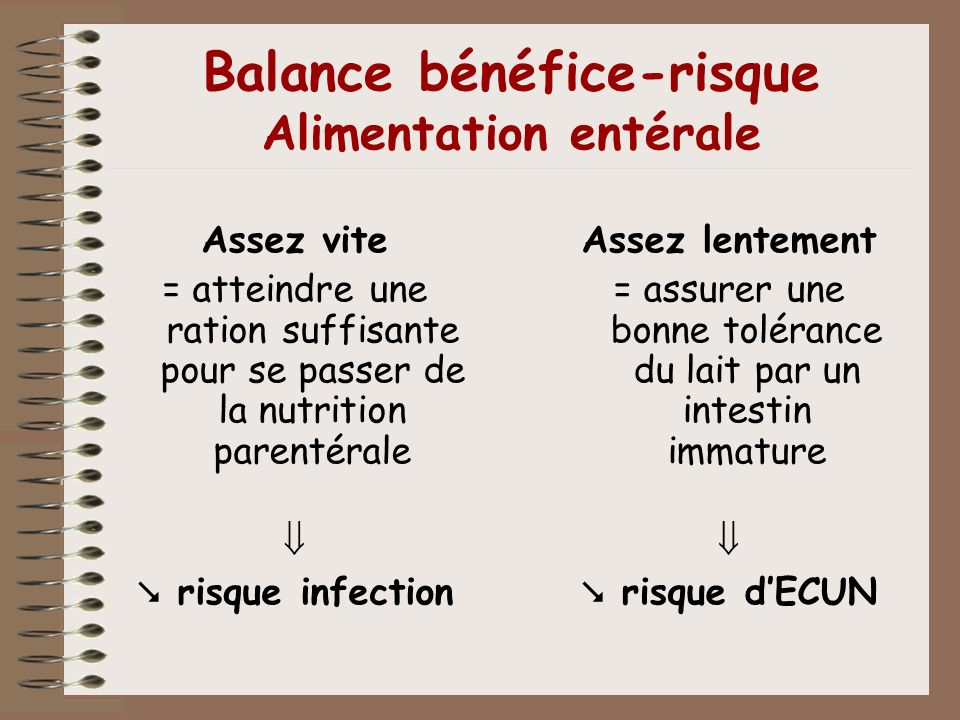 Balance bénéfice-risque Alimentation entérale