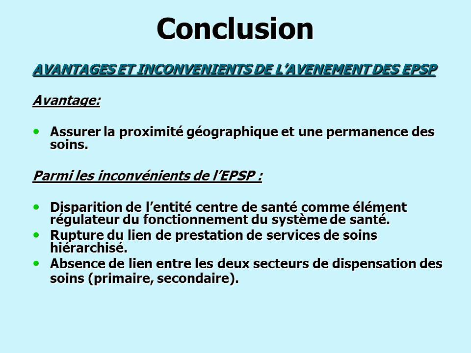 Conclusion AVANTAGES ET INCONVENIENTS DE L'AVENEMENT DES EPSP