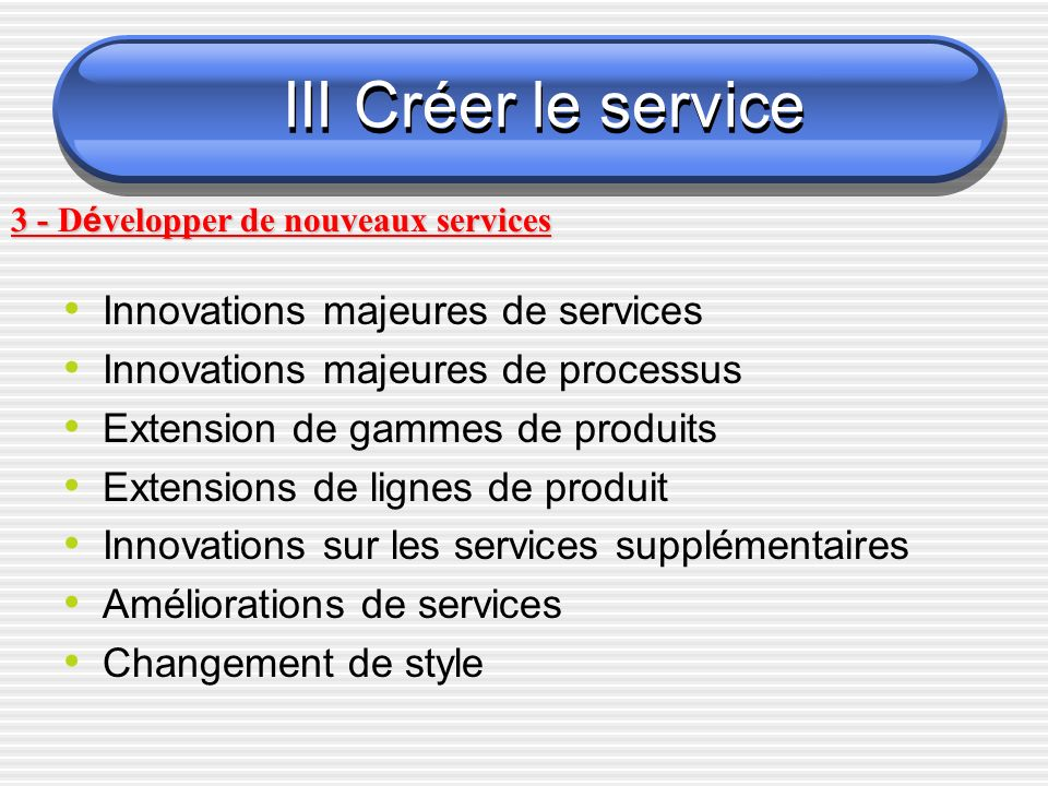 III Créer le service Innovations majeures de services