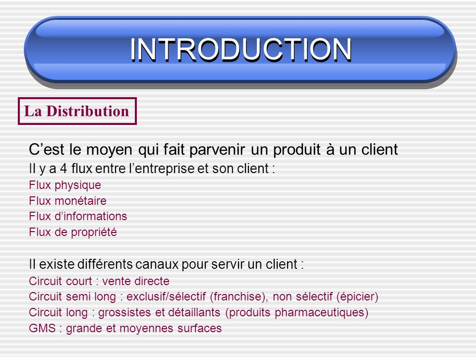 INTRODUCTION La Distribution