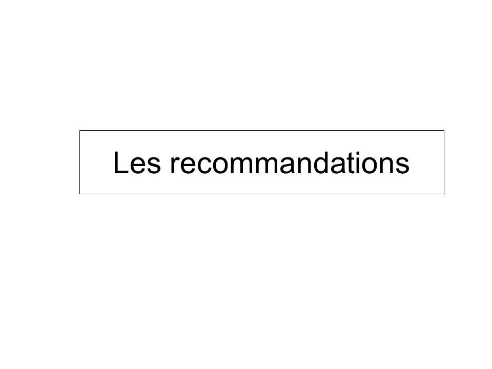 Les recommandations Bénéfice surtout pour les faibles risques