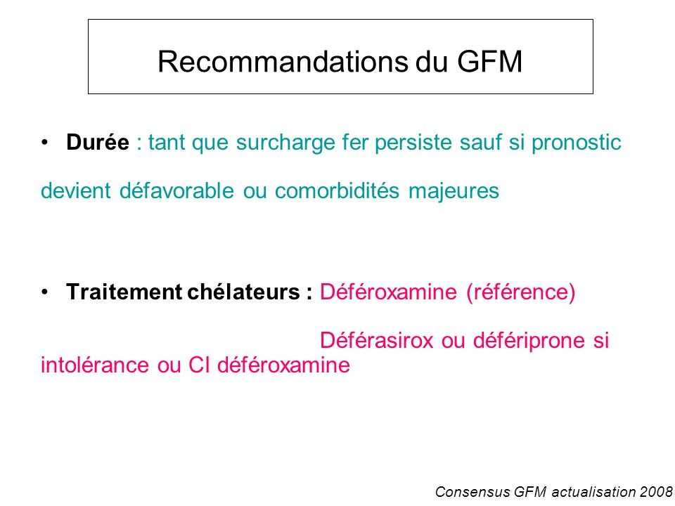 Recommandations du GFM