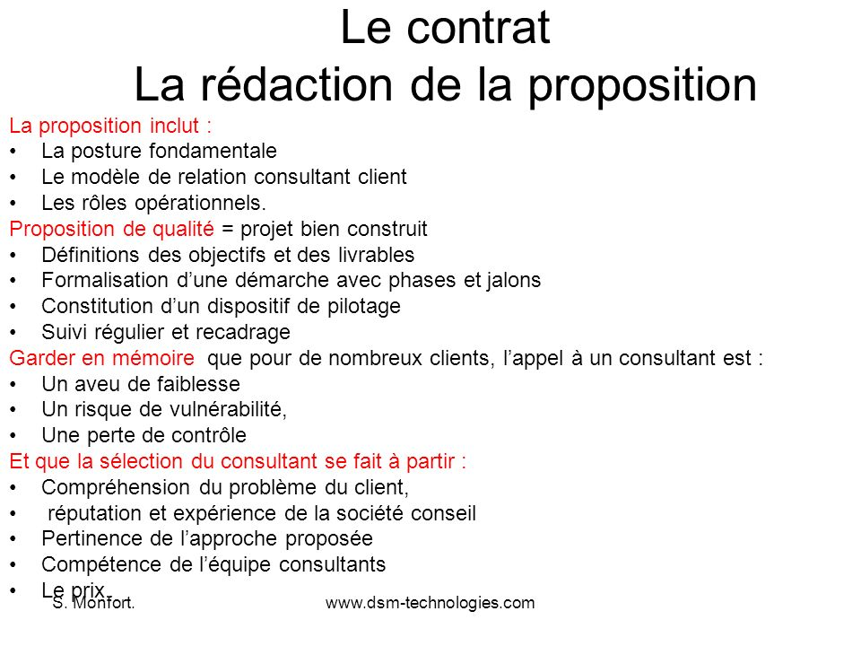 Le contrat La rédaction de la proposition