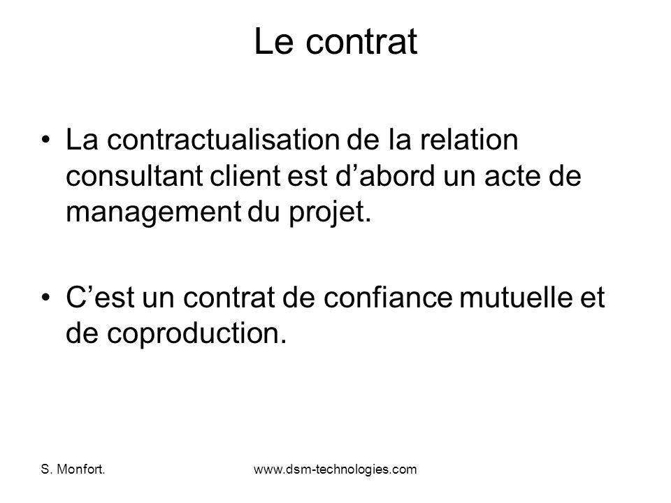 Le contrat La contractualisation de la relation consultant client est d'abord un acte de management du projet.