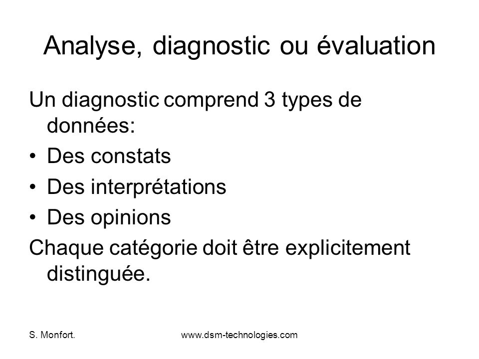 Analyse, diagnostic ou évaluation