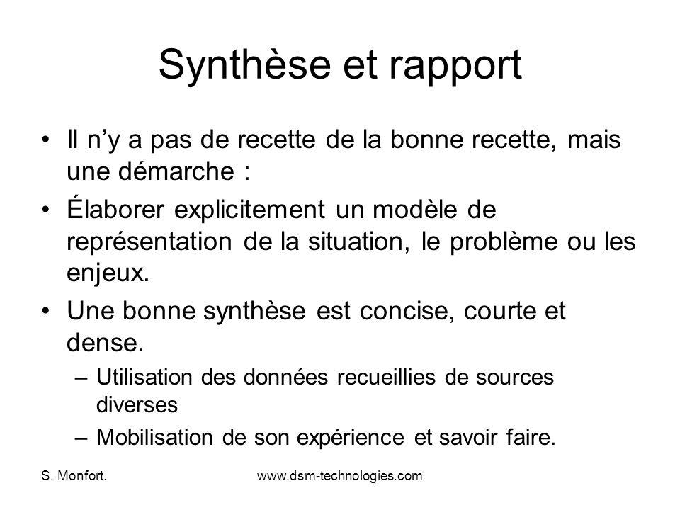 Synthèse et rapport Il n'y a pas de recette de la bonne recette, mais une démarche :