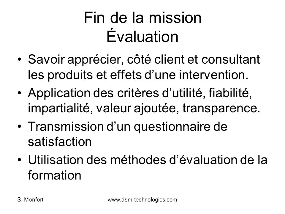 Fin de la mission Évaluation