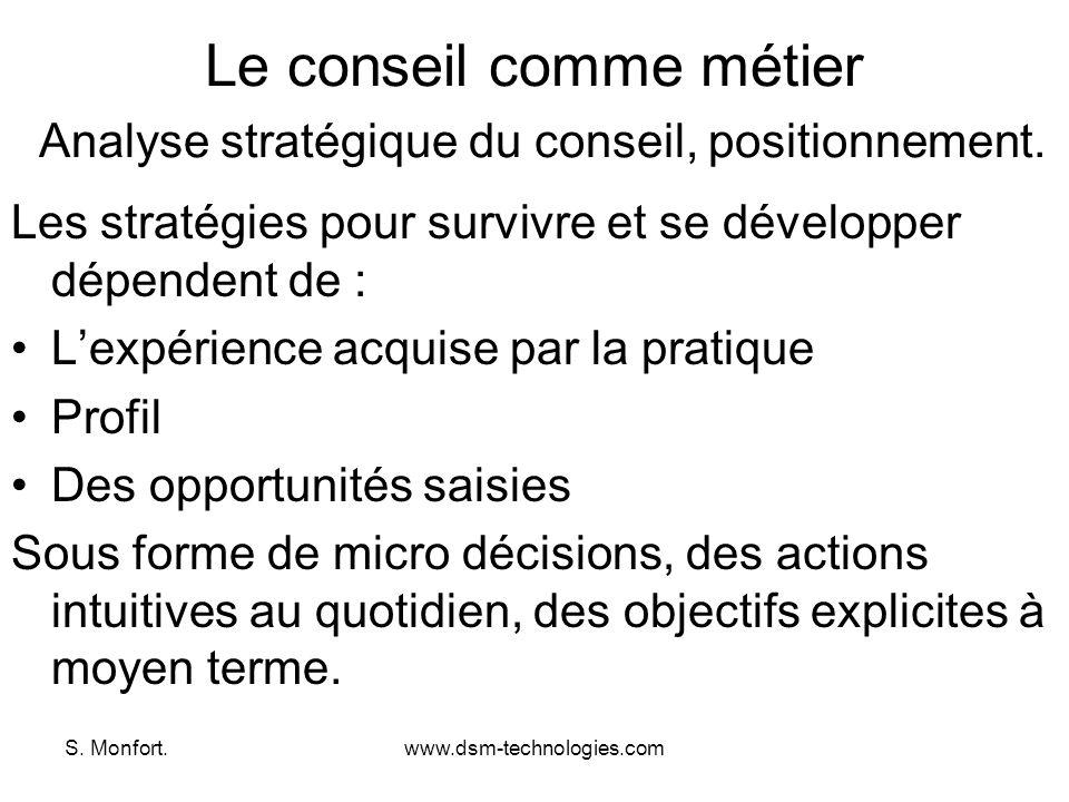 Le conseil comme métier Analyse stratégique du conseil, positionnement.