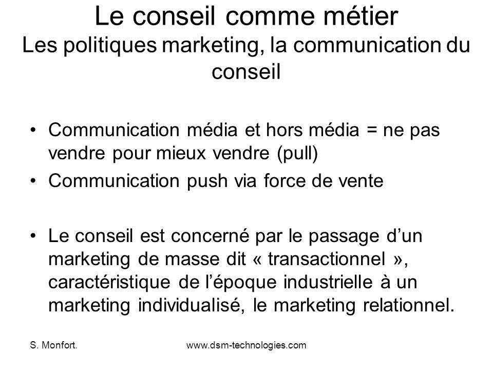 Le conseil comme métier Les politiques marketing, la communication du conseil