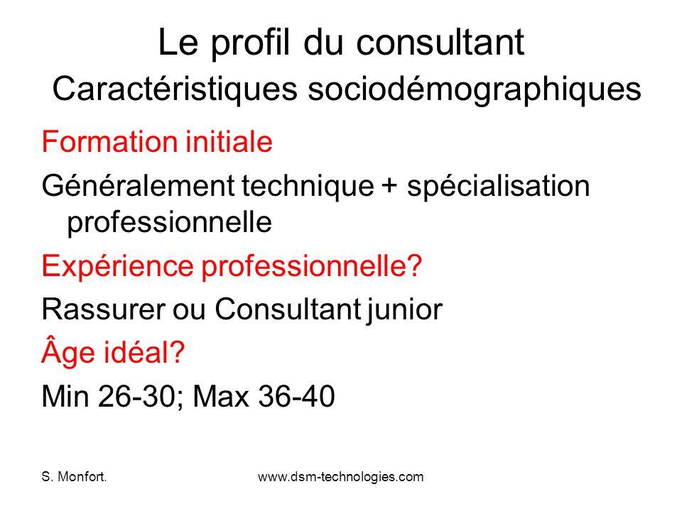 Le profil du consultant Caractéristiques sociodémographiques