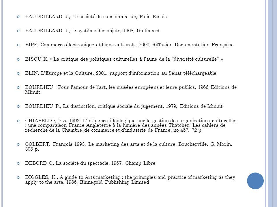 BAUDRILLARD J., La société de consommation, Folio-Essais