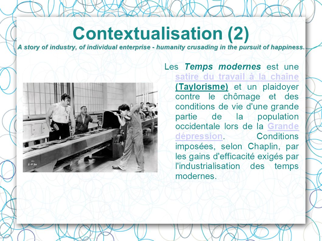 Contextualisation (2) A story of industry, of individual enterprise - humanity crusading in the pursuit of happiness.