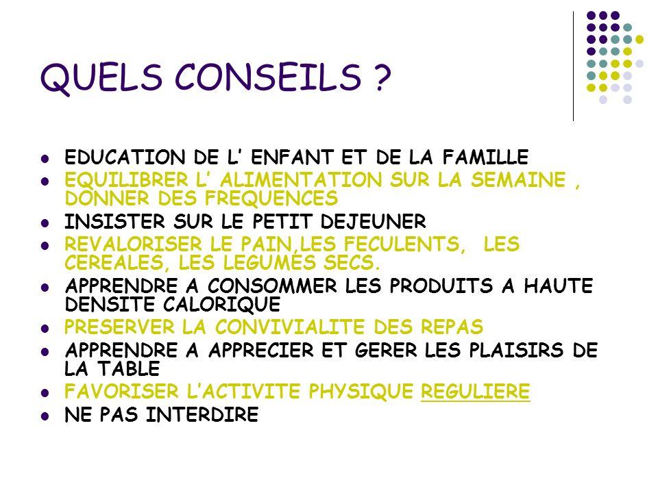 QUELS CONSEILS EDUCATION DE L' ENFANT ET DE LA FAMILLE