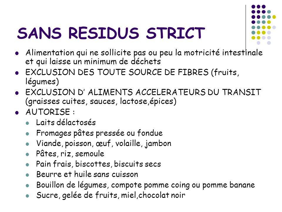 SANS RESIDUS STRICT Alimentation qui ne sollicite pas ou peu la motricité intestinale et qui laisse un minimum de déchets.