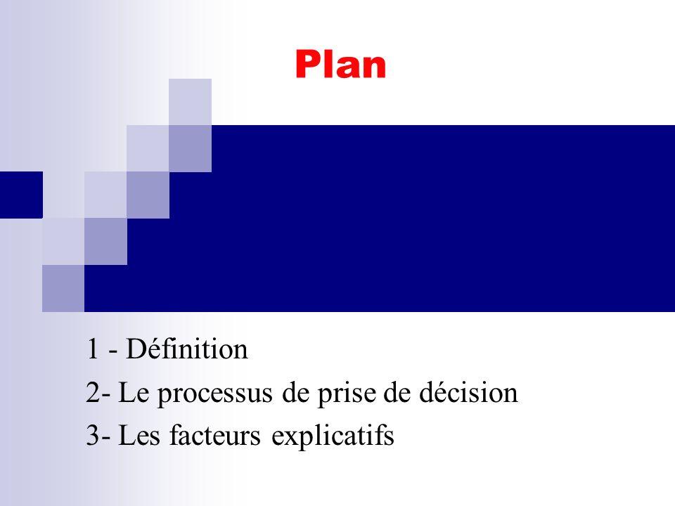 Plan 1 - Définition 2- Le processus de prise de décision
