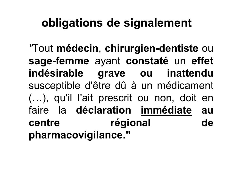 obligations de signalement