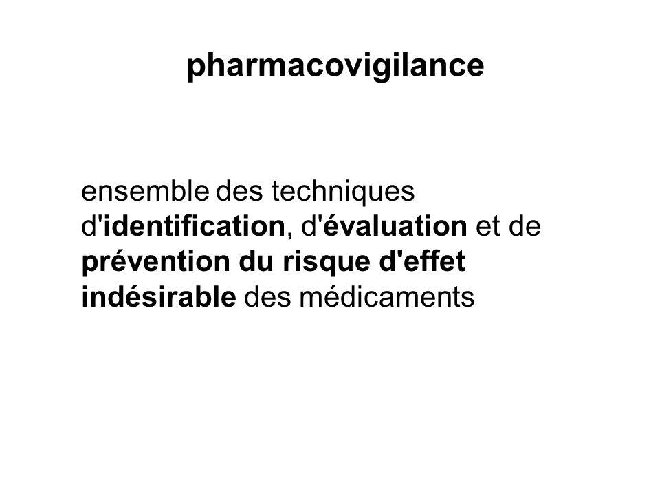 pharmacovigilance ensemble des techniques d identification, d évaluation et de prévention du risque d effet indésirable des médicaments.