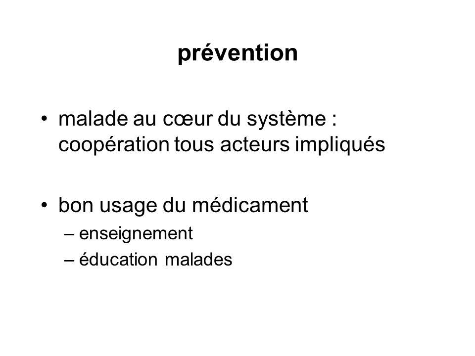 prévention malade au cœur du système : coopération tous acteurs impliqués. bon usage du médicament.