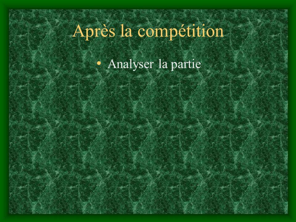 Après la compétition Analyser la partie