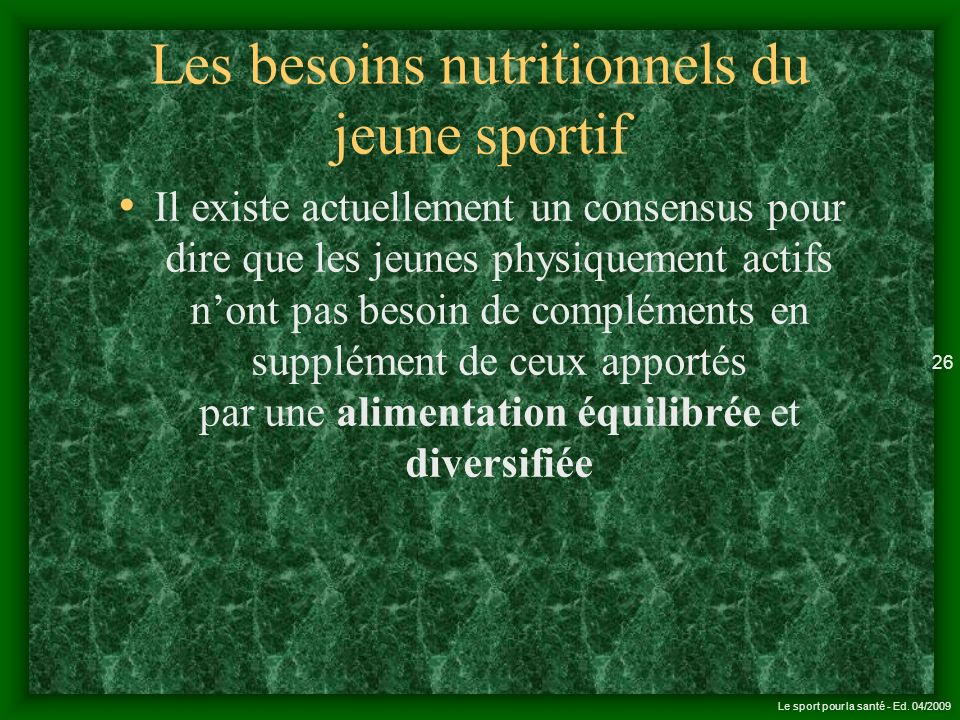 Les besoins nutritionnels du jeune sportif