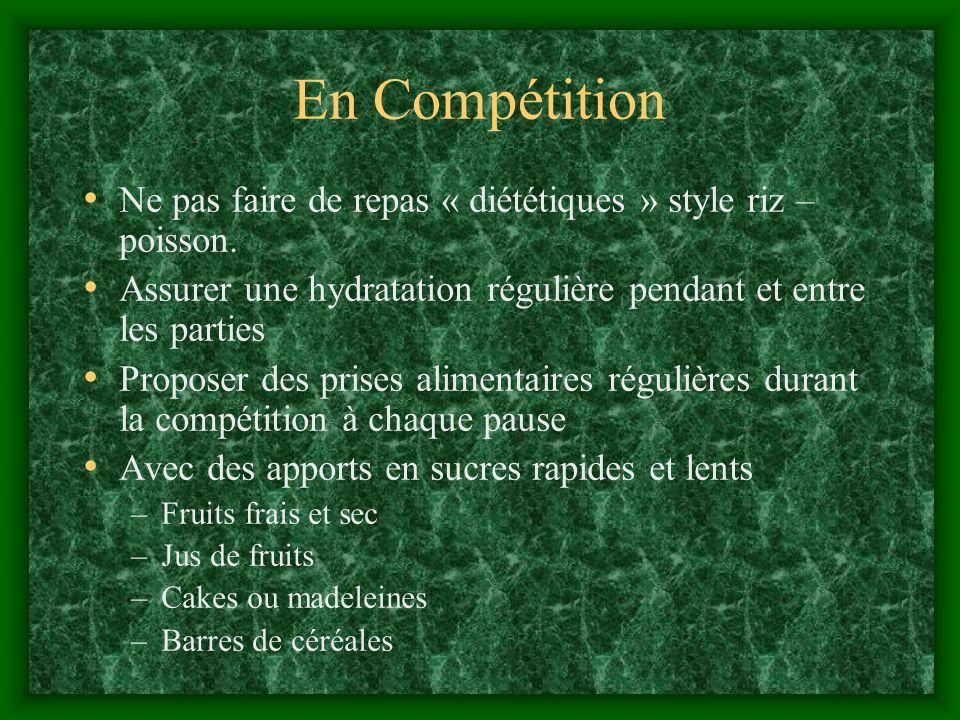 En Compétition Ne pas faire de repas « diététiques » style riz – poisson. Assurer une hydratation régulière pendant et entre les parties.