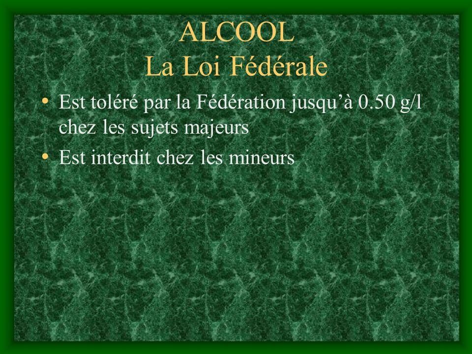 ALCOOL La Loi Fédérale Est toléré par la Fédération jusqu'à 0.50 g/l chez les sujets majeurs.