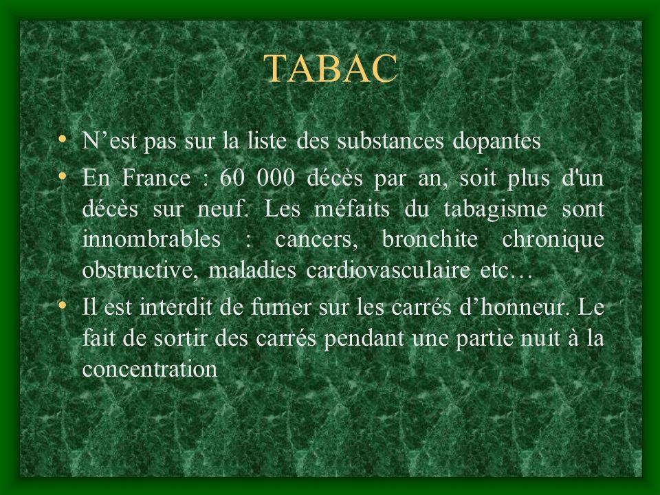 TABAC N'est pas sur la liste des substances dopantes