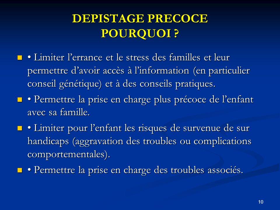 DEPISTAGE PRECOCE POURQUOI